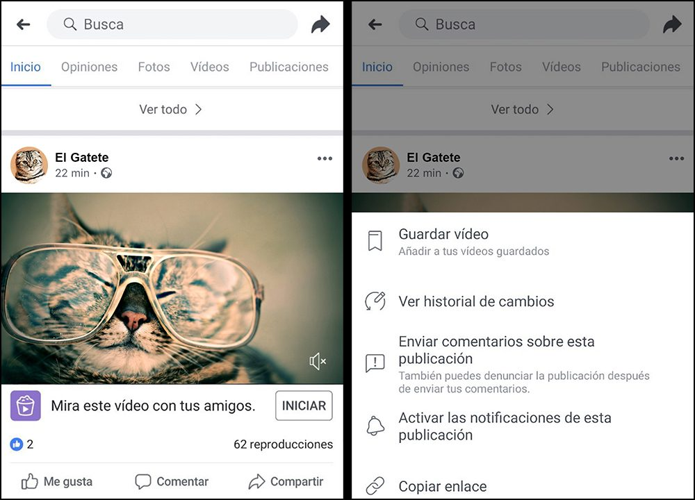 Copiar enlace de vídeo de Facebook en Android