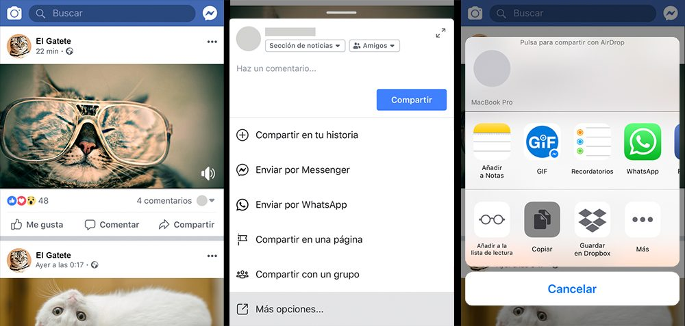 Así se copia el enlace del vídeo de Facebook en iPhone